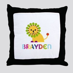 Brayden Loves Lions Throw Pillow