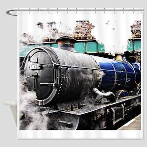 Vintage steam train & bridge Shower Curtain