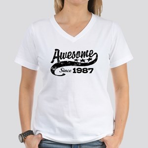 Awesome Since 1987 Women's V-Neck T-Shirt