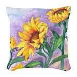 Sunny Sunflowers Woven Throw Pillow