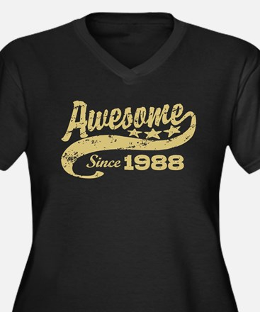 Awesome Since 1988 Women's Plus Size V-Neck Dark T
