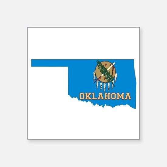 "Oklahoma Flag Square Sticker 3"" x 3"""