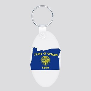 Oregon Flag Aluminum Oval Keychain