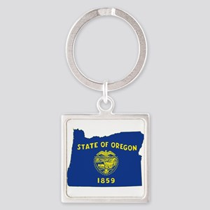 Oregon Flag Square Keychain