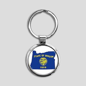 Oregon Flag Round Keychain