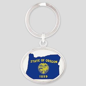 Oregon Flag Oval Keychain