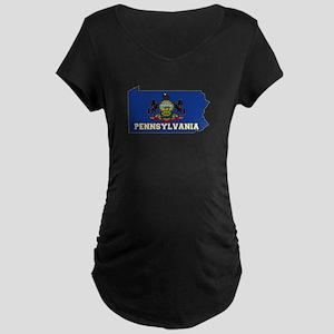 Pennsylvania Flag Maternity Dark T-Shirt