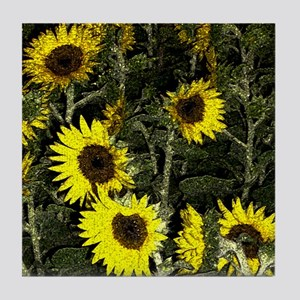Sunflowers! Digital flower photo! Tile Coaster