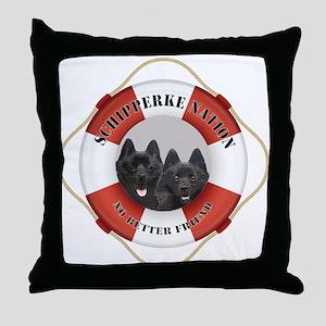 Schipperke Nation life preserver Throw Pillow