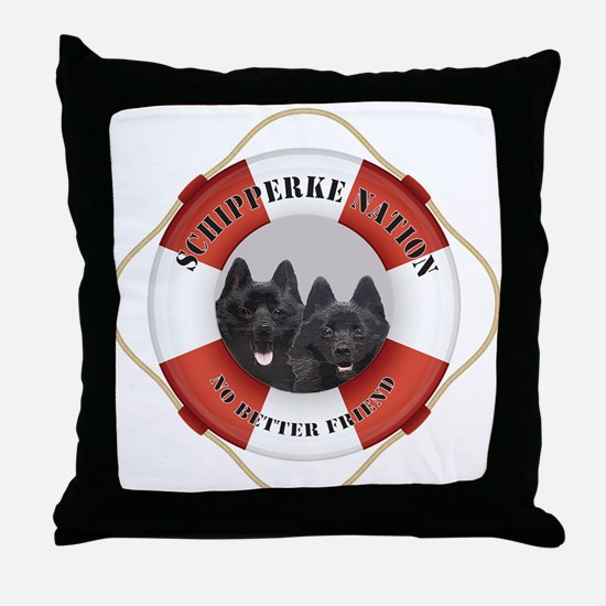 Schipperke Nation life preserver Throw Pillow
