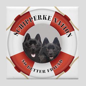 Schipperke Nation life preserver Tile Coaster