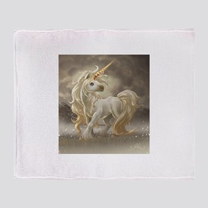 Golden unicorn Throw Blanket