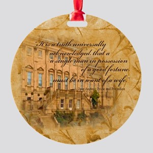 Jane Austen Quote Round Ornament