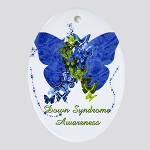 Down Syndrome Awareness Butterfly Ornament (Oval)