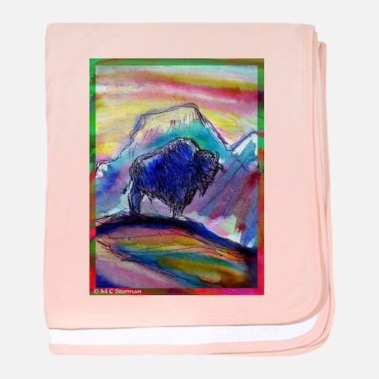 Buffalo, colorful, art! baby blanket