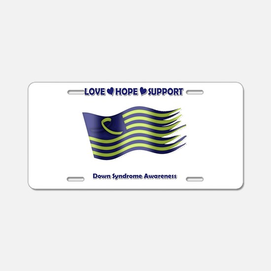 Down Syndrome Support Ribbon - Flag Aluminum Licen