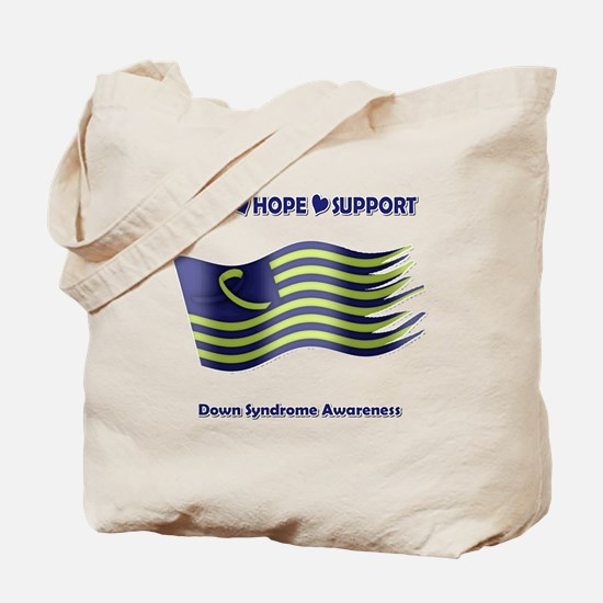 Down Syndrome Support Ribbon - Flag Tote Bag
