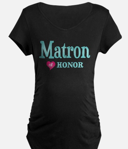 Matron of Honor Turquoise Pink Maternity T-Shirt