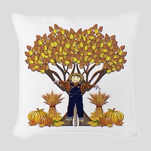 Autumn Scarecrow Woven Throw Pillow