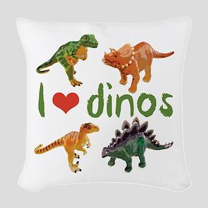 I Love Dinos Woven Throw Pillow