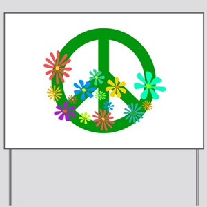 Blooming Peace Sign Yard Sign