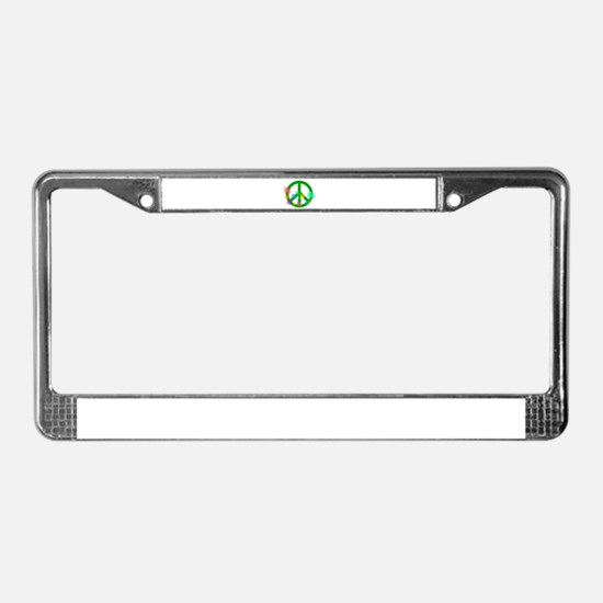 Blooming Peace Sign License Plate Frame