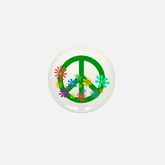 Blooming Peace Sign Mini Button