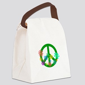 Blooming Peace Sign Canvas Lunch Bag