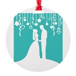 Bride and Groom silhouettes Round Ornament