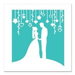 Bride and Groom silhouettes Square Car Magnet 3