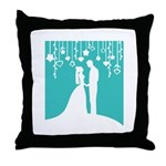 Bride and Groom silhouettes Throw Pillow