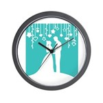 Bride and Groom silhouettes Wall Clock