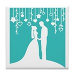 Bride and Groom silhouettes Tile Coaster