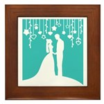 Bride and Groom silhouettes Framed Tile