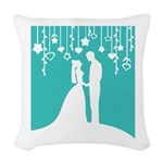 Bride and Groom silhouettes Woven Throw Pillow