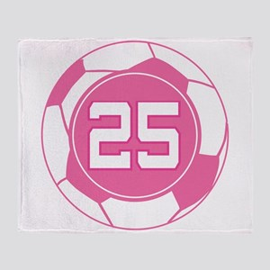 Soccer Number 25 Custom Player Throw Blanket
