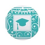 Graduate hat in teal Ornament (Round)
