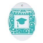 Graduate hat in teal Ornament (Oval)