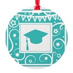 Graduate hat in teal Round Ornament