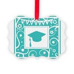 Graduate hat in teal Picture Ornament