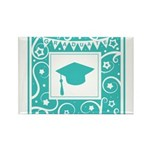 Graduate hat in teal Rectangle Magnet (100 pack)