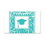 Graduate hat in teal Rectangle Car Magnet