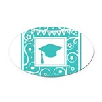 Graduate hat in teal Oval Car Magnet