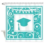 Graduate hat in teal Shower Curtain