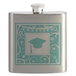 Graduate hat in teal Flask