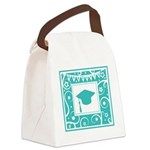 Graduate hat in teal Canvas Lunch Bag