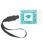 Graduate hat in teal Large Luggage Tag