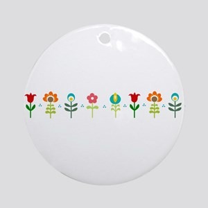 Retro folk floral line Ornament (Round)