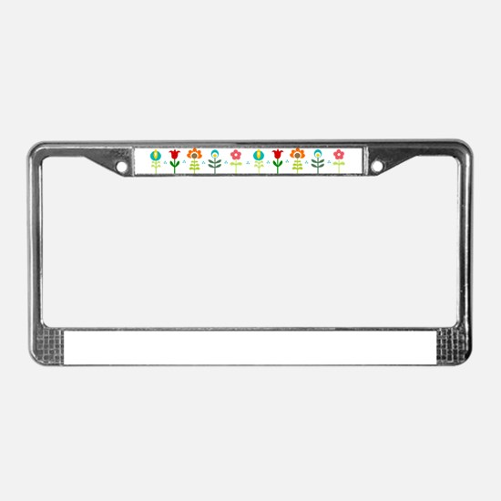 Retro folk floral line License Plate Frame