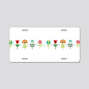 Retro folk floral line Aluminum License Plate